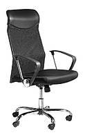 Кресло компьютерное на колесиках со спинкой из сетки , офисное черное с ручками