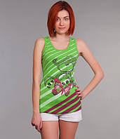 Майка женская зеленая с полоской и аппликацией 44-48
