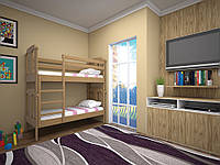 Двухярусная детская кровать (деревянная) ТИС