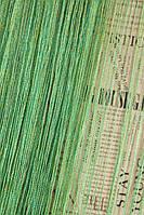 Шторы нити с люрексом (зеленая бирюза с золотым люрексом)