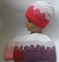 Детская вязаная шапка зима для девочки на флисе 8-12 лет оптом