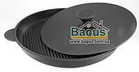 Сковорода чугунная гриль 400х40 мм круглая с прижимом, чугунная посуда Эколит (Украина) 4040ГПБР