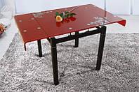 """Стол обеденный """"Дамаск"""" Стекло. Раскладной. Красный (Микс Мебель), фото 1"""