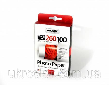 Фотопапір Videx глянцевий формат 10х15 см, щільність 260 г/м2 одностороння глянцева ) 100 аркушів