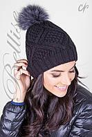 Черная женская вязаная шапка с помпоном