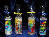 Декоративные  свеча с новогодним  полиграфическим изображением