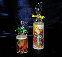 Декоративные  свечи с новогодним  полиграфическим изображением