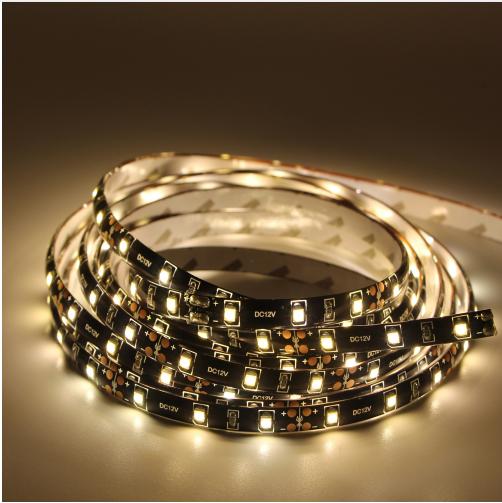 Светодиодная лента LED влагозащищённая на черной основе, 12V, SMD3528, IP65, 60 д/м, белый теплый