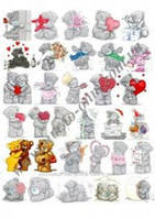 Картинки на водорастворимой бумаге Мишки 1 лист / 30 листов Красный