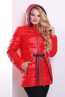 Женская теплая курточка на молнии с капюшоном красная