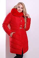 Куртка женская длинная с меховым воротником зима 2017 красная