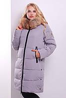 Длинная зимняя женская куртка серого цвета GLEM Куртка 511