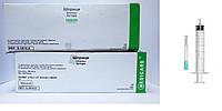 Шприц медицинский инъекционный, Луер слип, 10,0 мл (трехкомпонентный, с иглой 0,8 x 38мм), фото 1