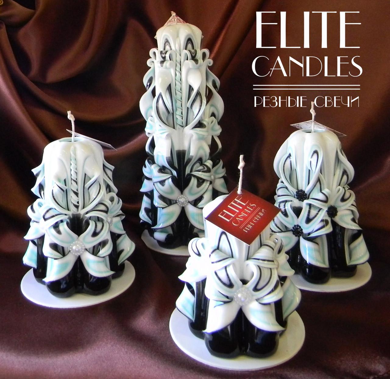 Сувенирный подарочный набор резных свечей ручной работы
