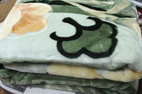 Плед с цветами лилиями, зеленый, евро размер