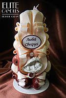 """Різьблена свічка з янголятком і написом """"Любій Свекрусі"""", хороший подарунок ручної роботи, сувенірна свічка"""