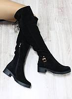 Зимние натуральные замшенвые ботфорты на шнурочках