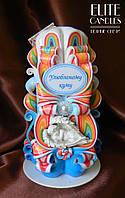 """Подарок для Кума резная свеча с ангелочком и надписью """"Улюбленому Куму"""", хороший подарок ручной работы"""