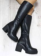 Зимние кожаные сапоги черные на удобном каблуке