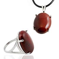 Яшма красная, серебро 925, кольцо и кулон комплект