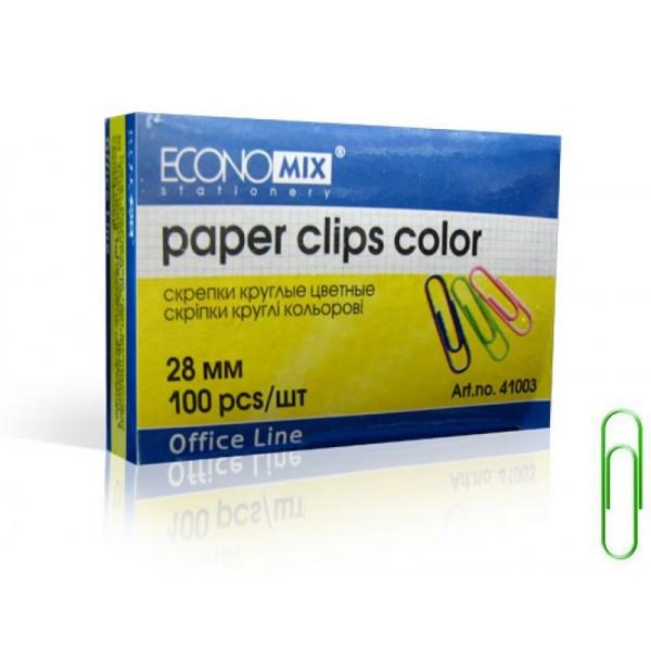 Скрепки Economix E41003 28мм (100 шт) цветные