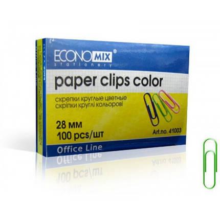 Скрепки Economix E41003 28мм (100 шт) цветные, фото 2