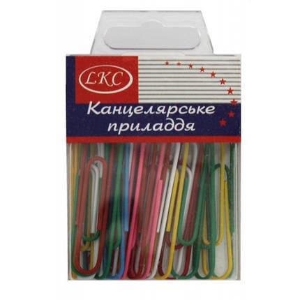 Скрепки 50 мм 30 шт цветные в пластиковой коробке, фото 2
