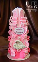 """Ррезная свічка для доньки з янголятком і написом """"Любій донечці"""", хороший подарунок ручної роботи"""