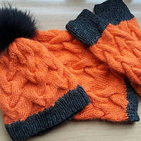 Комплект шапка, снуд и варежки