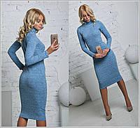 Женское теплое платье-гольф ангора