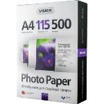 Фотопапір Videx глянцева ( формат А4, щільність 115 г/м2 одностороння глянцева ) 500 аркушів