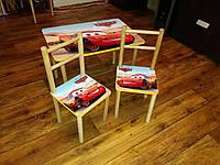 Детский стол+2 стульчика для мальчика Тачки