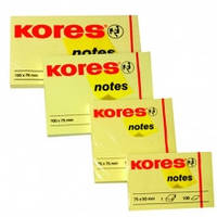 Бумага клейкая Kores, 75 х 75 мм, 100 л