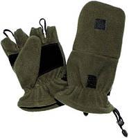 Перчатки-варежки (2в1) флисовые с петлями MFH 15311A (тёмно-зелёные, хаки) (до -30) S