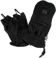 Перчатки-варежки (2в1) флисовые с петлями MFH 15311A (Чёрные) (до -30) S