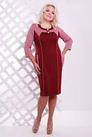 Женское  платье батал Стефани  Lenida вишня  50-58 размеры