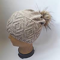 Молодежная шапка на флисе с высоким подворотом