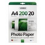 Фотопапір Videx глянцева ( формат А4, щільність 200 г/м2 одностороння глянцева ) 20 аркушів