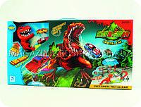 Детская парковка-гараж «Голодный динозавр» + 10 машинок (Трек, трамплин, динозавр, металлические машинки)