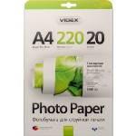 Фотобумага Videx глянцевая ( формат А4, плотность 220 г/м2 двухсторонняя глянцевая ) 20 листов