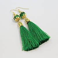 Серьги-кисточки зеленые [7см]