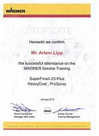 Сертификат по сервисному обслуживанию Wagner