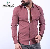Приталенная модель! Мужская рубашка бордового цвета