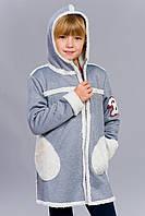 Теплое модное пальто на девочку с капюшоном
