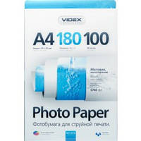 Фотобумага Videx матовая ( формат А4, плотность 180 г/м2 односторонняя матовая ) 100 листов