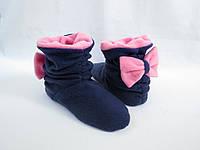 Тапочки Бантики темно сине розовые