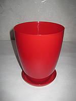 """Вазон-кашпо """"МАТИЛЬДА"""" с подставкой V=2,3л (d=15см h=18,5см) красный """"Омела"""""""