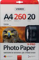 Фотобумага Videx микропористая Сатин ( формат А4 , плотность 260 г/м2 , односторонняя  ) 20 листов