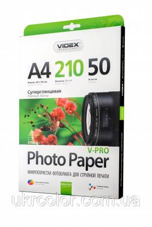 Фотобумага Videx микропористая Суперглянцевая ( формат А4 , плотность 210 г/м2 , односторонняя) 50 листов