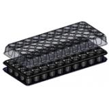 Тепличка для рассады (поддон+кассета+крышка) на 40ячеек (размер 54х23см, h56мм, d45мм) (200шт/уп)